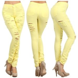 Denim - Yellow High Waist Destroyed Ripped Skinny Jeans